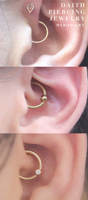 Cute Daith Ear Piercing Ideas Simple Gold Captive Bead Ring Hoop Earring 16G for Migraine Pain - simples ideas para perforar orejas - www.MyBodiArt.com #earrings