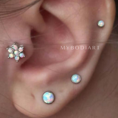 Cute Multiple Tragus Ear Piercing Ideas - Opal Flower Tragus Earring Jewelry -   lindas ideas para perforar orejas - www.MyBodiArt.com