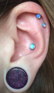 Opal Ear Piercing Ideas at MyBodiArt.com - Opal Double Cartilage Helix Tragus Conch Earrings - Ear Gauge Ear Plugs
