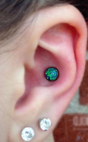 Different & Cute & Simple Ear Piercing Ideas - Conch Opal Earring Barbell Stud at MyBodiArt.com