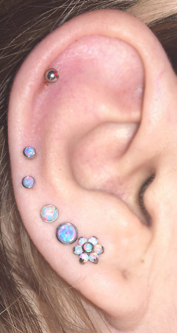 Multiple All Around Ear Piercing Ideas - Flower Opal Triple Double Lobe Earring Studs  - www.MyBodiArt.com