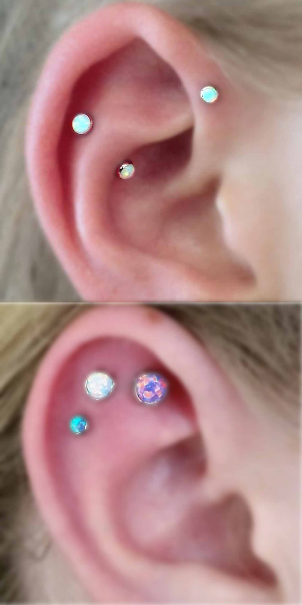 Cartilage Ear Piercing Jewelry at MyBodiArt.com - Forward Helix Triple Opal Earrings