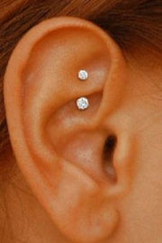 Cute & Simple Ear Piercing Ideas - Swarovski Rook Earring - Daith Piercing Jewelry - Gold 16G Curved Barbell at MyBodiArt.com