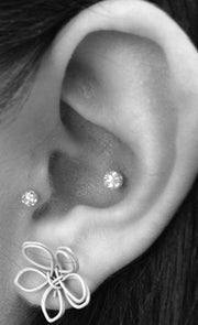 Cute and Simple Ear Piercing Ideas - Crystal Ball Tragus Earring - Conch Stud Barbell 16G - MyBodiArt.com