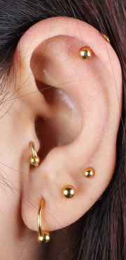 Cute Simple Multiple Ear Piercing Ideas Gold Ball Stud Earring Studs for Cartilage Helix Conch Tragus Ear Lobe -  lindo oro múltiples orejas piercing ideas - www.MyBodiArt.com