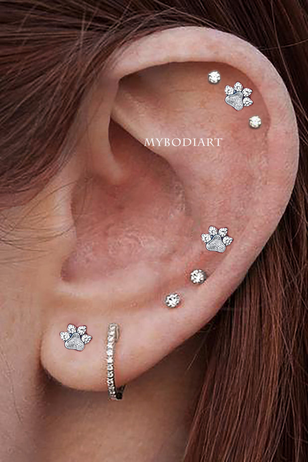 Cute Multiple Ear Piercing Jewelry Earring Studs for Cartilage, Helix -  lindas ideas de joyería para piercing en la oreja - www.MyBodiArt.com