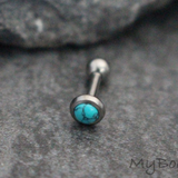 Turquoise Stone Cartilage Piercing, Tragus Earring, Helix Stud in Silver - Internally Threaded - Ear Piercing Jewelry at MyBodiArt.com