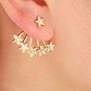 Cute and Unique Ear Piercing Ideas at MyBodiArt.com - Gold Crystal Star Burst Ear Jacket Earring