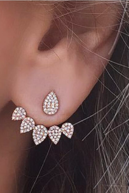 Cute Classy Ear Piercing Ideas for Women - Crystal Ear Jacket Earrings - www.MyBodiArt.com #earrings