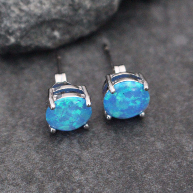 Blue Opal Earrings - MyBodiArt.com