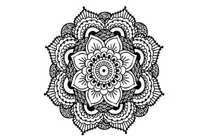 Black and White Mandala Temporary Tattoo Sheet - MyBodiArt.com