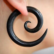 Spiral Ear Gauges in Black Acrylic