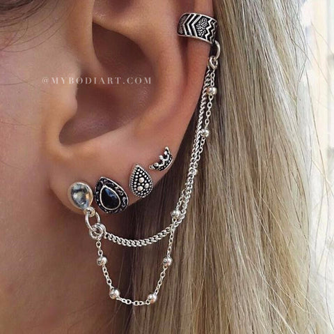 Earring Set Tribal Boho Multiple Ear Piercing Ideas Cartilage Chain Ear Cuff Jewelry -  tribales múltiples orejas piercing ideas para las mujeres - www.MyBodiArt.com