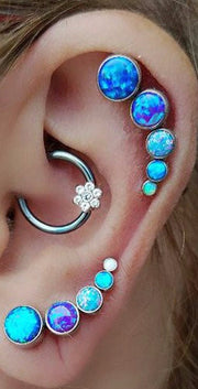 Cute Multiple Ear Piercing Ideas -  Daith & Rook Piercing Jewelry - Opal Cartilage Studs -  at MyBodiArt.com
