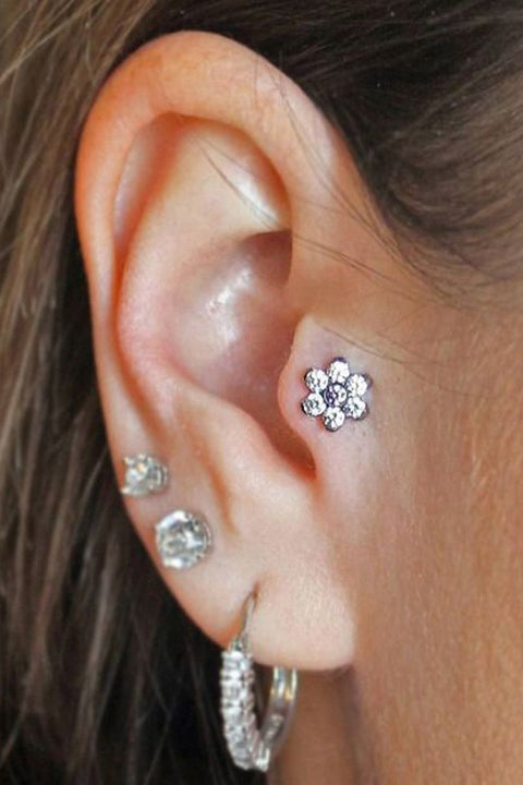 Gorgeous Ear Piercing Ideas - Crystal Flower Tragus Stud - Jewl Swarovski Ear Barbell 16G at MyBodiArt.com