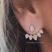 Cute Crystal Drop Earring Ear Jacket - www.MyBodiArt.com