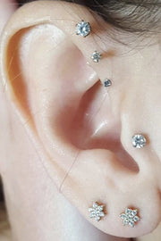 Cute Triple Forward Helix Ear Piercing Jewelry Ideas for Women Crystal Earring Stud 16G - www.MyBodiArt.com
