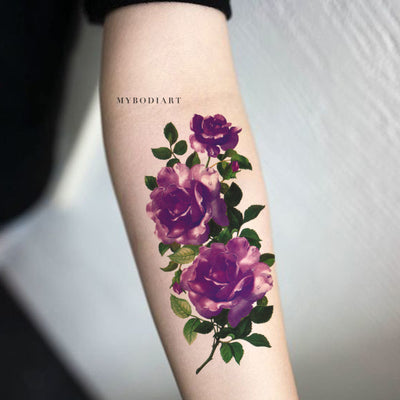 Modern Purple Floral Flower Forearm Arm Sleeve Temporary Tattoo Ideas for Women - www.MyBodiArt.com