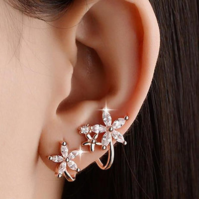 Cute Classy Crystal Spiral Flower Floral Earring for Women Fashion Jewelry in Silver or Gold - www.MyBodiArt.com