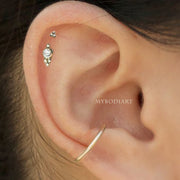 Simple Tribal Boho Bohemian Ball Double Gold Cartilage Helix Ear Piercing Jewelry Ideas for Women -  lindas ideas de joyería para piercing en la oreja - www.MyBodiArt.com #piercings #earring