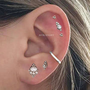 Cute Multiple Tribal Boho Ear Piercing Jewelry Earring Studs -  joyería piercing de oreja - www.MyBodiArt.com