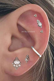 Elowen Tribal Boho Ball Crystal Ear Piercing Jewelry Earring Stud 16G