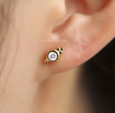 Boho Tribal Ear Piercing Ideas Gold Crystal Cartilage Helix Tragus Conch Earrings Jewelry - tribal piercing ideas para mujeres - www.MyBodiArt.com