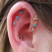 Turquoise Cartilage Multiple Ear Piercing Jewelry Ideas at MyBodiArt.com