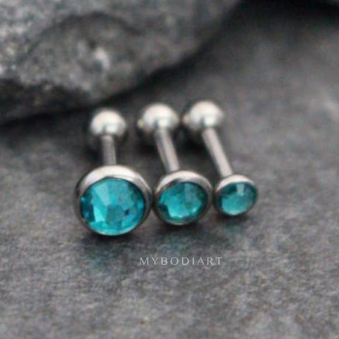 Turquoise Crystal Ear Piercing Earring Jewelry Stud in 16G Silver for Cartilage, Helix, Conch, Tragus - www.MyBodiArt.com