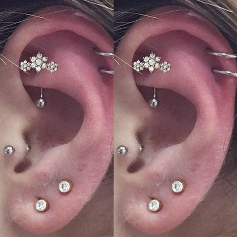 Evie Crystal Cartilage Earring Helix Stud Cute Conch Piercing