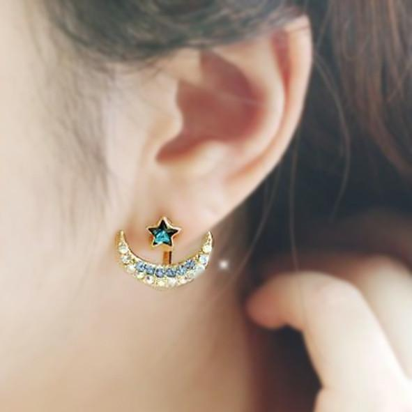 Star Crescent Moon Jacket Earring Multiple Ear Piercing Jewelry Ideas - MyBodiArt.com