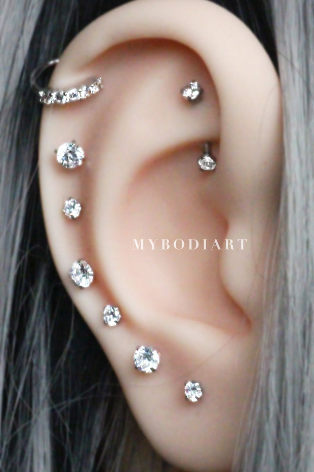 Cute Multiple Ear PIercing ideas Curved Rook Barbell Earring Crystal Cartilage All the Way Around Earrings Helix Ring Hoop in Silver - www.MyBodiArt.com