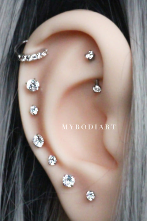 Cute Multiple Ear Piercing Ideas for Women Crystal Ear Studs All The Way Around Cartilage Rook Earring Jewelry Curved Barbell - www.MyBodiArt.com