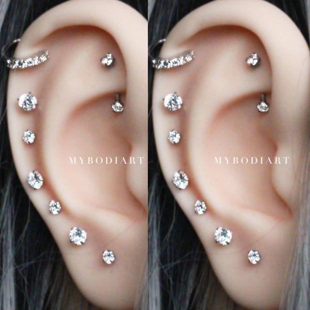 Multiple Ear Piercing Jewelry Ideas for Women Crystal Curved Barbell Rook Earring - www.MyBodiArt.com