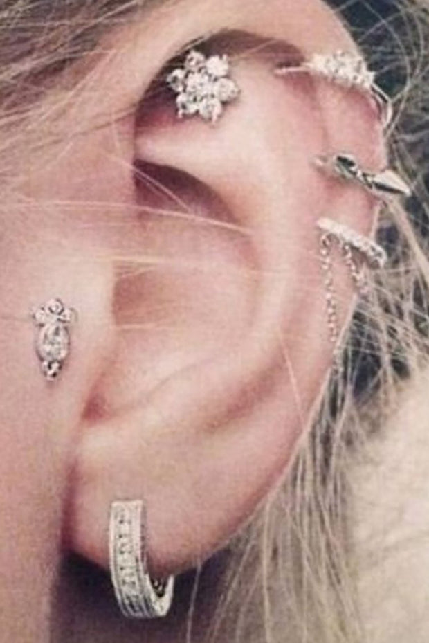 Multiple Ear Piercings Inspiration Ideas - Crystal Flower Jewelry Earring Stud 16G for Cartilage, Helix, Conch, Tragus - www.MyBodiArt.com