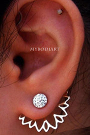 Cute Crystal Flower Ear Jacket Earring Studs in Silver Fashion Statement Jewelry for Women for Teen Girls - www.MyBodiArt.com #earrings