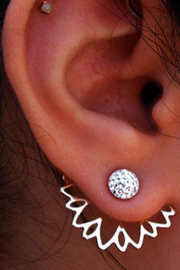 Cute Flower Ear Jacket Earring in Silver Crystal  Lotus Fashion Jewelry Earrings for Women for Teens - pendientes de la oreja de la flor linda para las mujeres - www.MyBodiArt.com