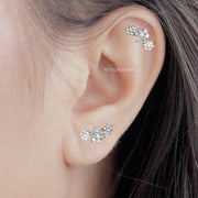 Cute Triple Crystal Flower Cartilage Helix Ear Piercing Jewelry Ideas for Women - ideas de joyería piercing de oreja -  www.MyBodiArt.com