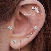 Chrissy Crystal Ear Piercing Jewelry Hoop Huggie Earring 16G