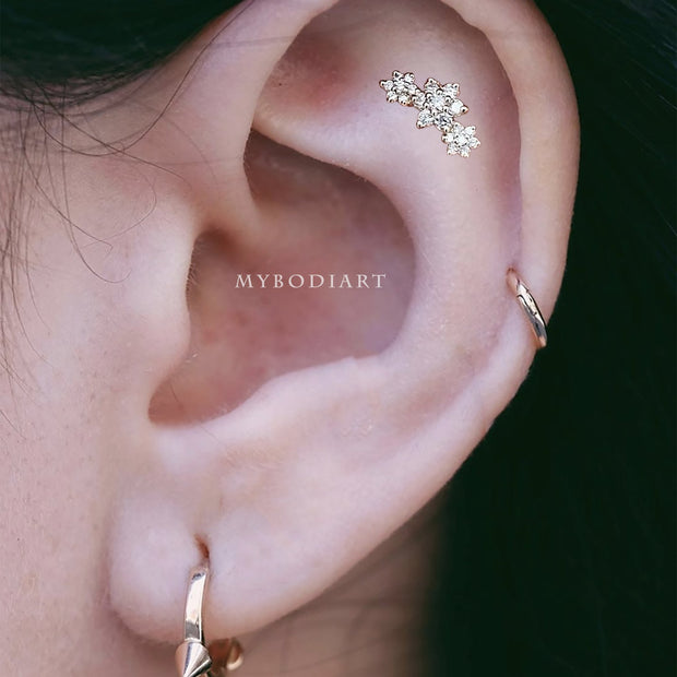 Cute Feminine Unique Crystal Triple Flower Cartilage Helix Ear Piercing Inspiration Jewelry Ideas Earring Stud 16G -  lindas ideas para perforar orejas de flores - www.MyBodiArt.com #earrings