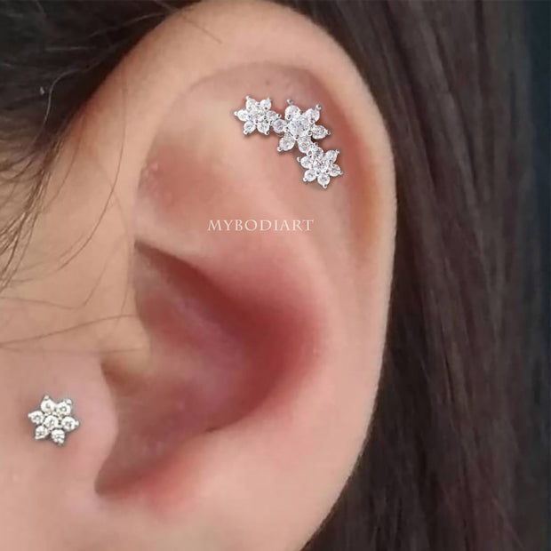 Simple Cute Crystal Flower Crystal Cartilage Helix Ear Piercing Jewelry Ideas for Women - www.MyBodiArt.com #earrings