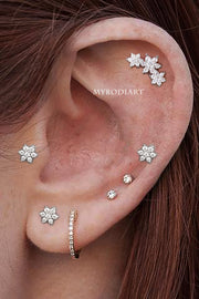 Cute Triple Flower Cartilage Helix Ear Piercing Jewelry Ideas for Women - www.MyBodiArt.com