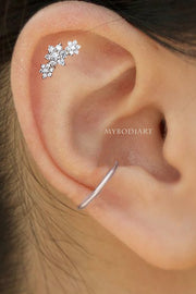 Florabella Crystal Triple Flower Ear Piercing Stud 16G