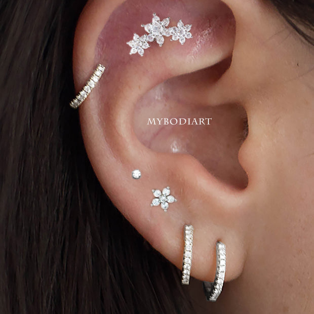 Feminine Multiple Ear Piercing Jewelry Ideas for Women - Crystal Cartilage Helix Earrings 16G - www.MyBodiArt.com