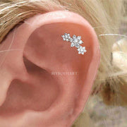 Cute Crystal Flower Cartilage Helix Ear Piercing Jewelry Ideas for Women -  lindas ideas para perforar orejas - www.MyBodiArt.com #earrings