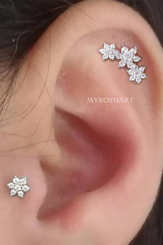 Cute Simple Flower Tragus Ear Piercing Jewelry Ideas for Women - www.MyBodiArt.com