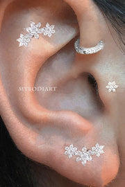 Ear Piercing Ideas for Women - Cute Triple Flower Cartilage Helix Earring Stud 16G Silver - www.MyBodiArt.com