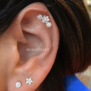 Cute Multiple Ear Piercing Jewelry Ideas for Women - Crystal Flower Cartilage Earring Stud - www.MyBodiArt.com #earrings