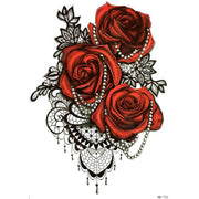Florence Red Rose Black Lace Temporary Tattoo