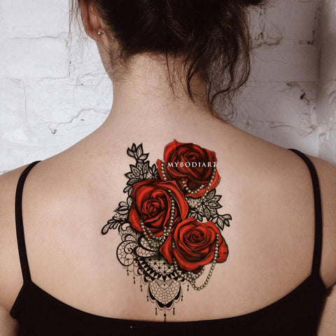 Cool Gothic Shoulder Rose Lace Chandelier Back Spine Tattoo Ideas for Women -  Ideas de tatuaje de hombro rosa para mujeres - www.MyBodiArt.com
